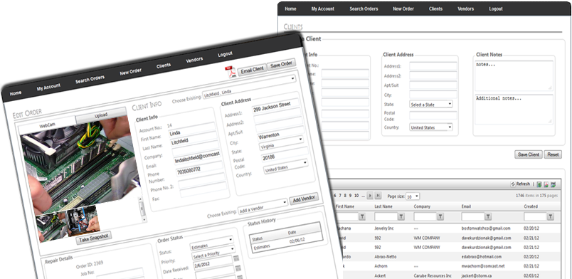 Customer Management and New Orders Screens
